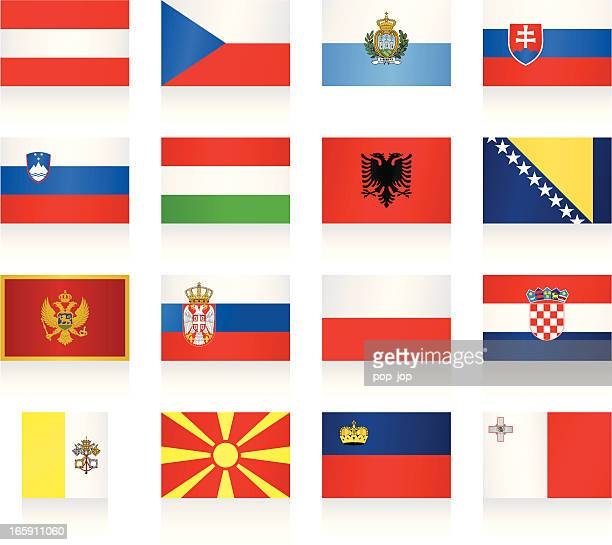 flags collection - central and southern europe - croatian flag stock illustrations, clip art, cartoons, & icons