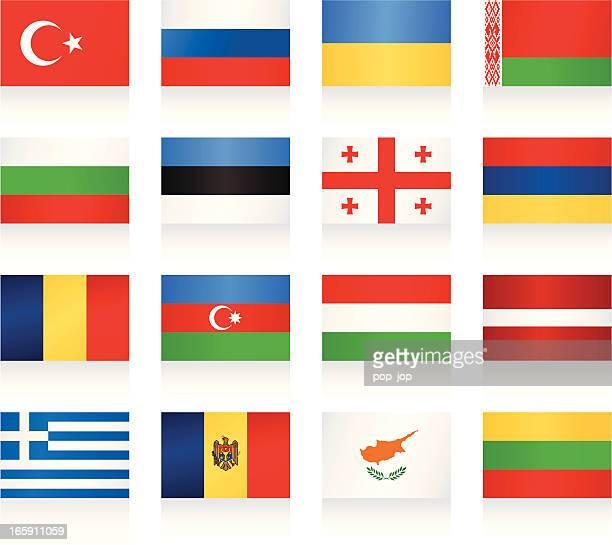die flaggen-kollektion osten und südeuropa - flagge von georgien stock-grafiken, -clipart, -cartoons und -symbole