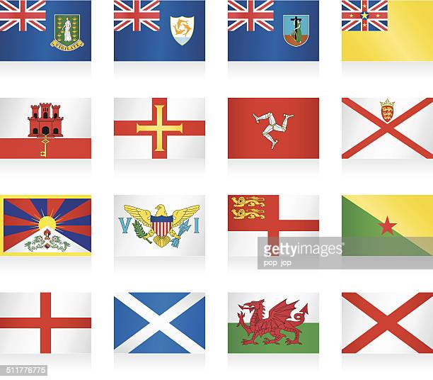 flags collection - small countries and territories - french overseas territory stock illustrations