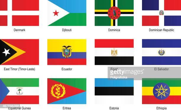 "flags - ""d"", ""e"" - dominican republic flag stock illustrations"