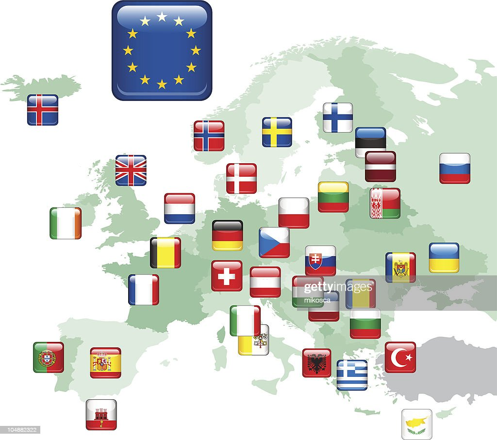 Flags. Europe Map.