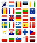 EU Flags Flat Square Icon Set