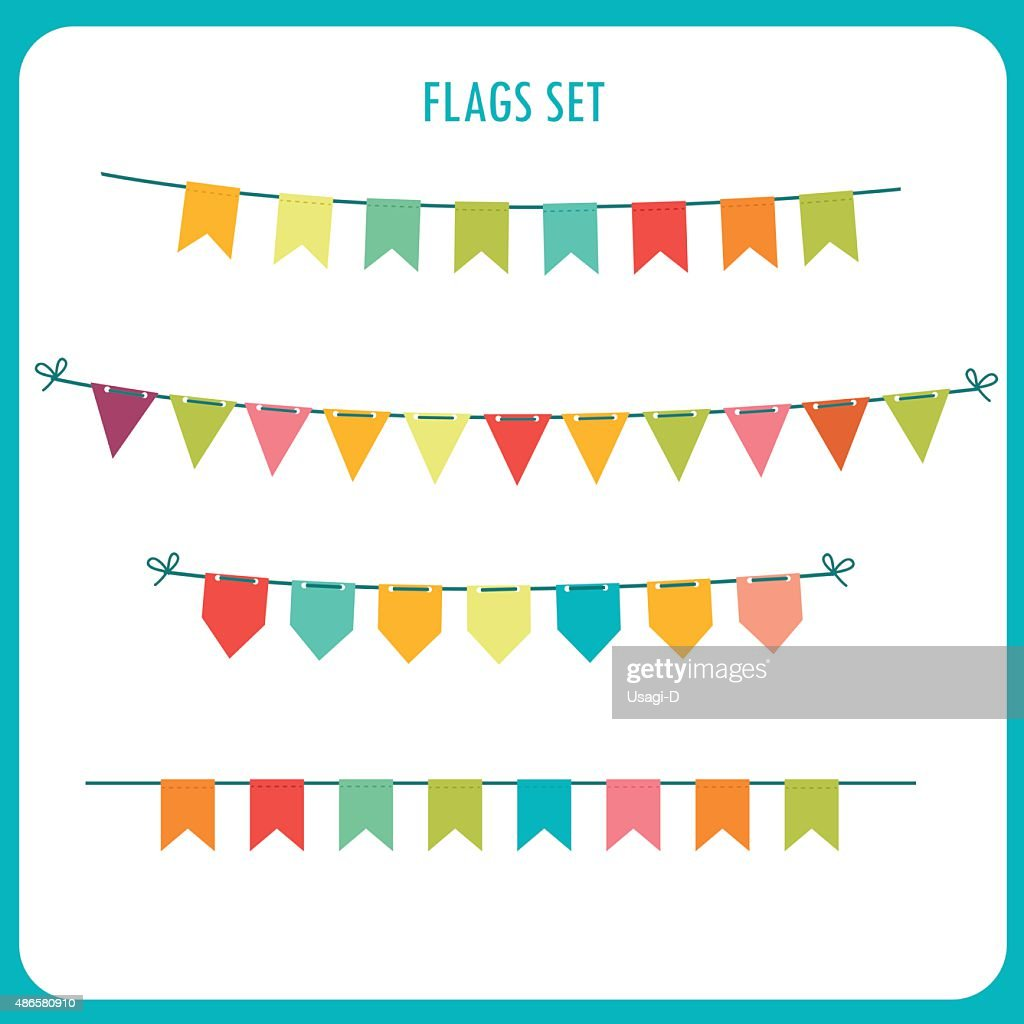 Flags Garlands Colors Vector Set. Vector On White Background.