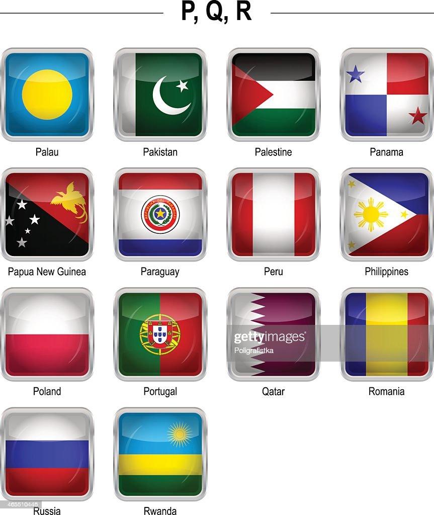 "Flags icon - ""P"", ""Q"", ""R"" : stock illustration"