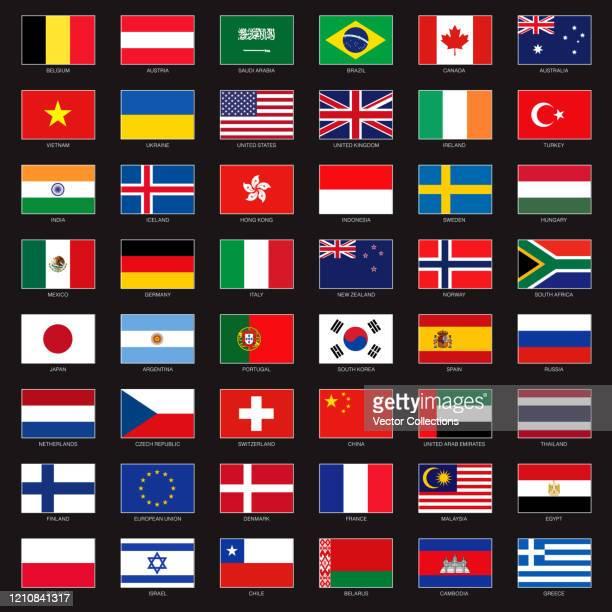 ilustraciones, imágenes clip art, dibujos animados e iconos de stock de conjunto de iconos de banderas - bandera argentina