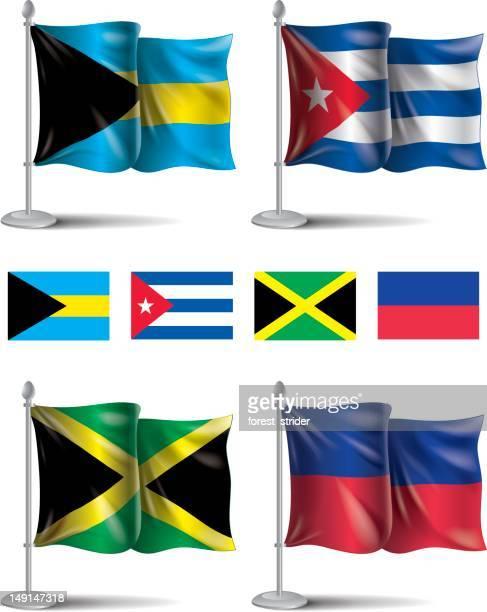 flags icons: bahamas, cuba, jamaica, haiti - cuban ethnicity stock illustrations, clip art, cartoons, & icons