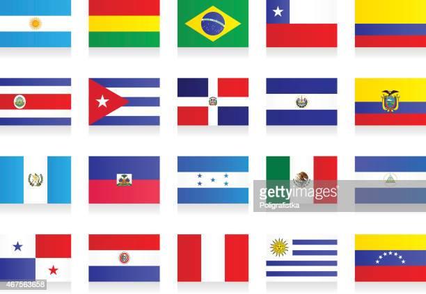 ilustraciones, imágenes clip art, dibujos animados e iconos de stock de banderas-américa latina - américa central
