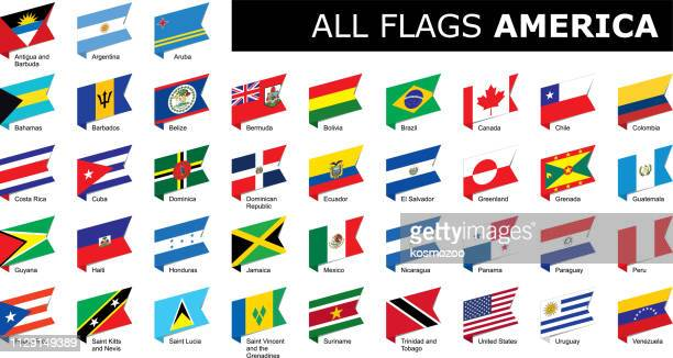 stockillustraties, clipart, cartoons en iconen met lijst van vlaggen van amerika - colombia land