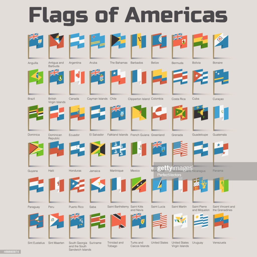 Flags of Americas in cartoon style