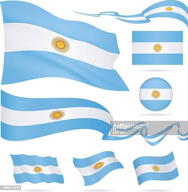 ilustraciones, imágenes clip art, dibujos animados e iconos de stock de banderas de argentina-icono set-ilustración - bandera argentina
