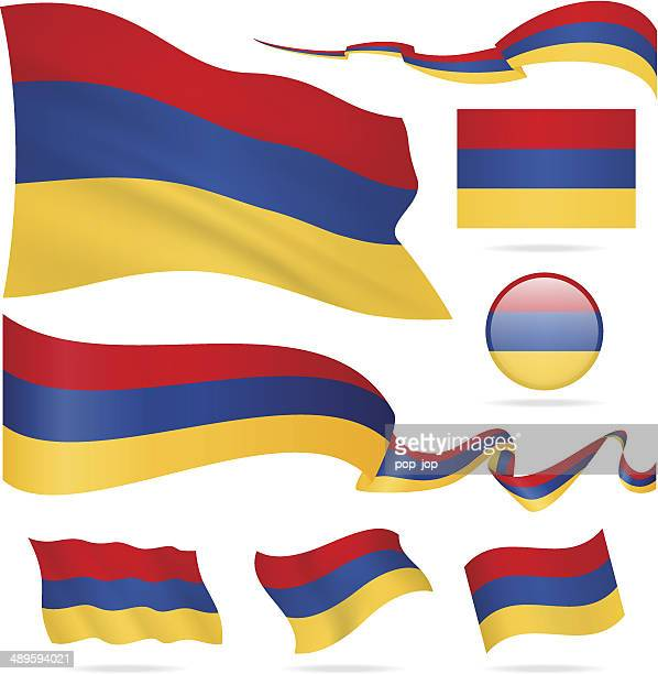 flags of armenia - icon set - illustration - armenian flag stock illustrations