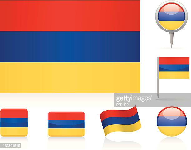 flags of armenia - icon set - armenian flag stock illustrations