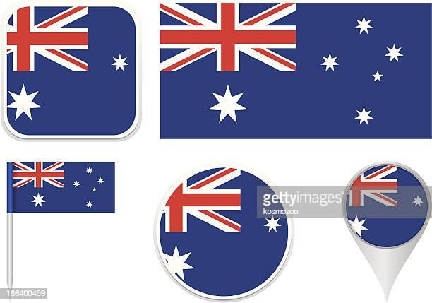 flags of australia - australian flag stock illustrations