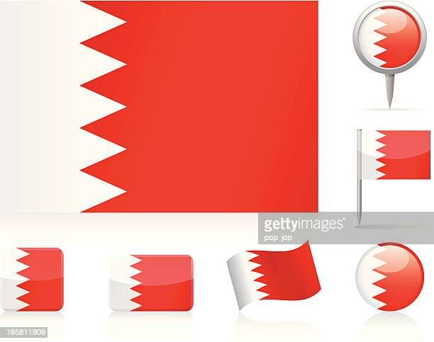 flags of bahrain - icon set - bahrain stock illustrations, clip art, cartoons, & icons