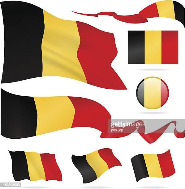 Flags of Belgium - icon set - Illustration