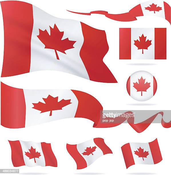 flags of canada - icon set - illustration - canadian flag stock illustrations