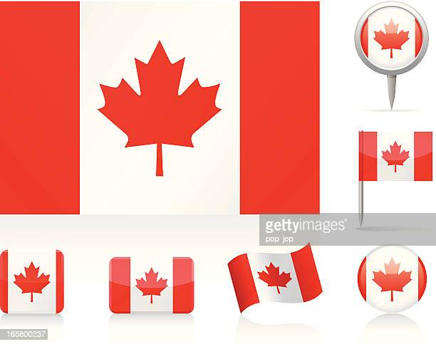 flags of canada - canadian flag stock illustrations