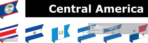 flags of central america - central america stock illustrations, clip art, cartoons, & icons
