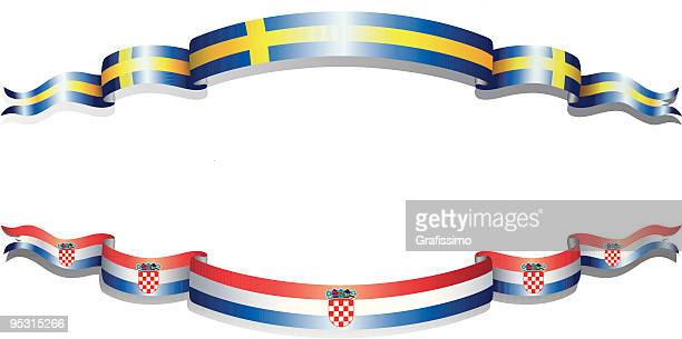 flags of croatia and sweden - croatian flag stock illustrations, clip art, cartoons, & icons