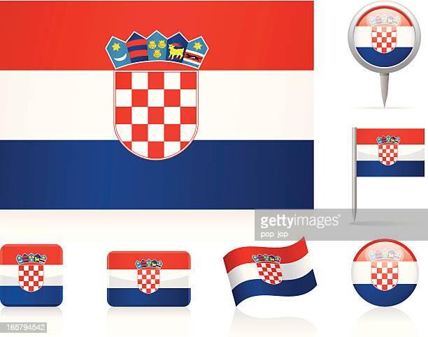 flags of croatia - icon set - croatian flag stock illustrations, clip art, cartoons, & icons