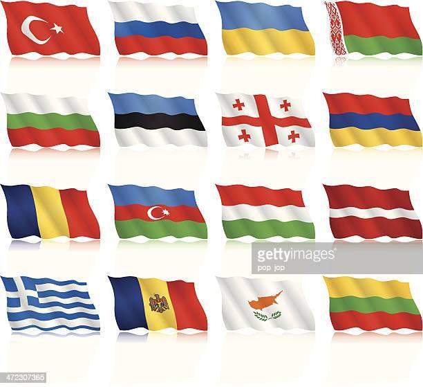 flaggen von osten und dem südlichen europa-winkt form - flagge von georgien stock-grafiken, -clipart, -cartoons und -symbole