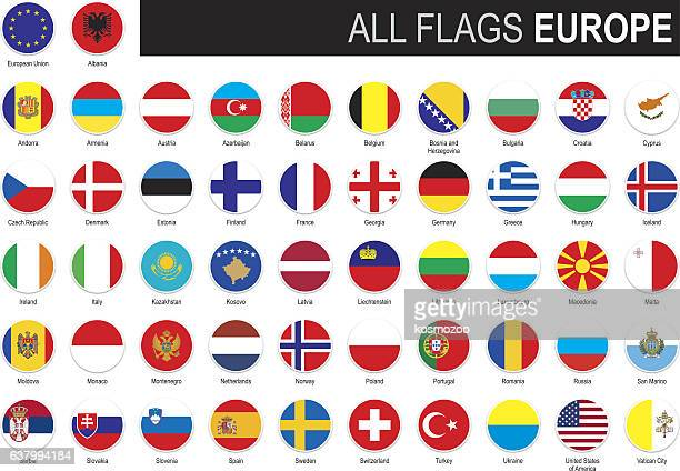 flags of europe - all european flags stock illustrations
