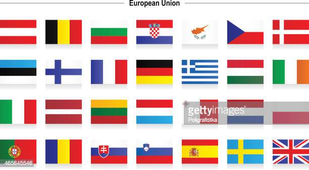 flags of european union - all european flags stock illustrations