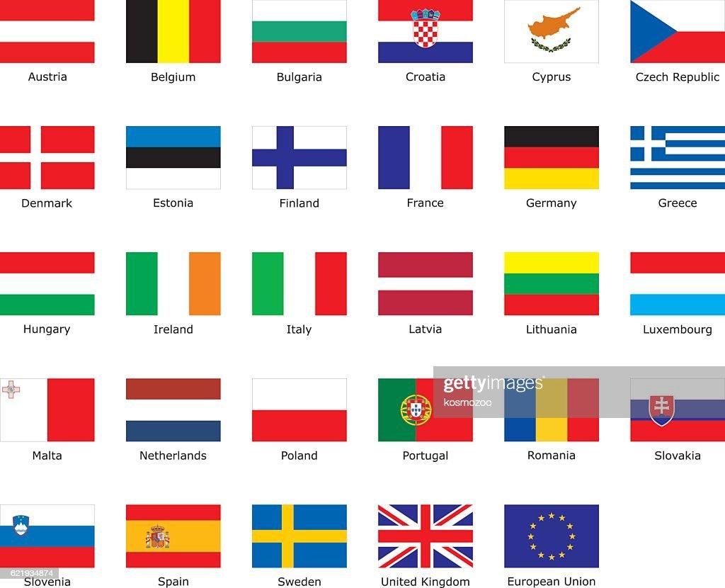 flags of European Union : stock illustration