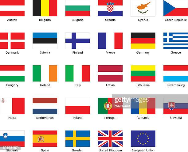 flags of european union - greece stock illustrations