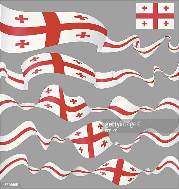 flaggen von georgia-banner - flagge von georgien stock-grafiken, -clipart, -cartoons und -symbole