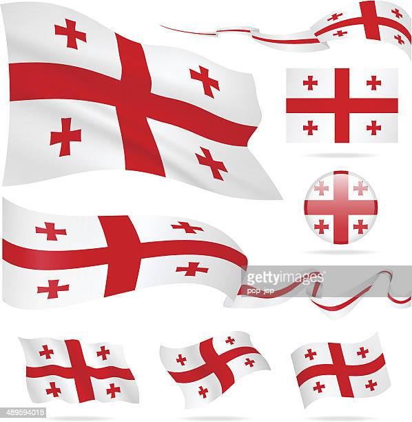 flaggen von georgia-icon-set-illustration - flagge von georgien stock-grafiken, -clipart, -cartoons und -symbole