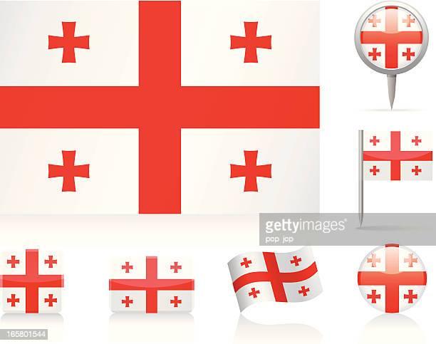 flaggen von georgia-icon-set - flagge von georgien stock-grafiken, -clipart, -cartoons und -symbole
