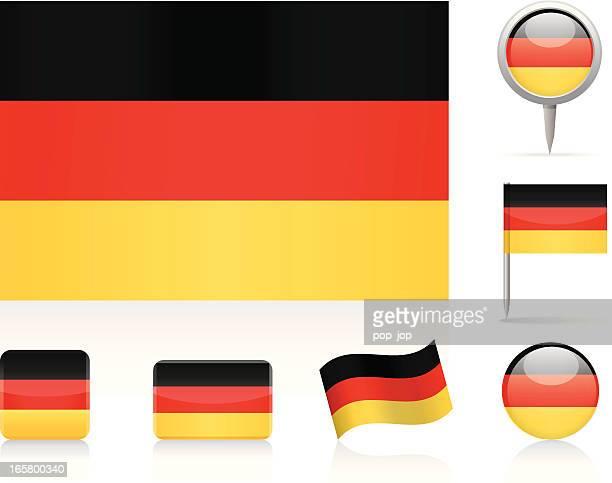 flaggen von deutschland - deutsche flagge stock-grafiken, -clipart, -cartoons und -symbole