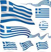 Flags of Greece - icon set - Illustration