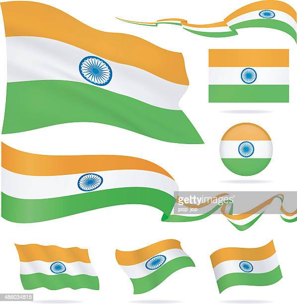 flags of india - icon set - illustration - indian flag stock illustrations