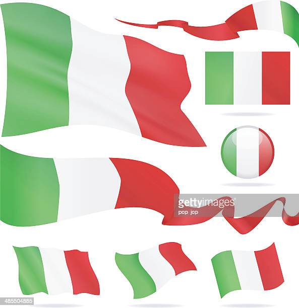 Flags of Italy - icon set - Illustration