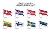 Flags of Northern Europe countries.