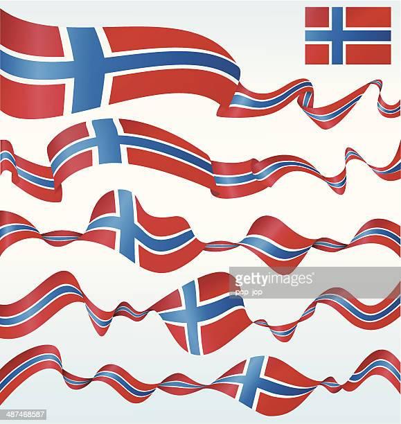 flaggen von norwegen-banner - norwegische flagge stock-grafiken, -clipart, -cartoons und -symbole