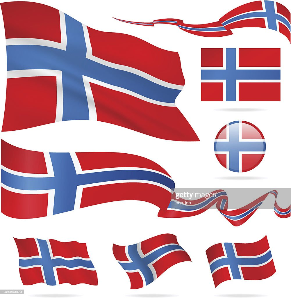 Flags Of Norway Icon Set Illustration High-Res Vector ...