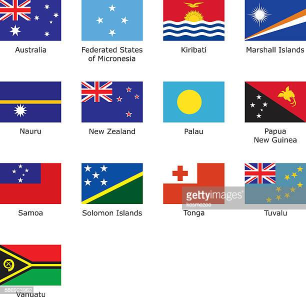 flags of oceania - tuvalu stock illustrations, clip art, cartoons, & icons