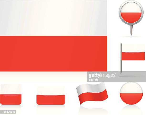 flaggen von polen-icon-set - polnische flagge stock-grafiken, -clipart, -cartoons und -symbole