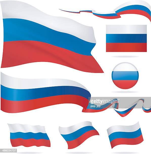 flaggen von russland-icon-set-illustration - russische flagge stock-grafiken, -clipart, -cartoons und -symbole