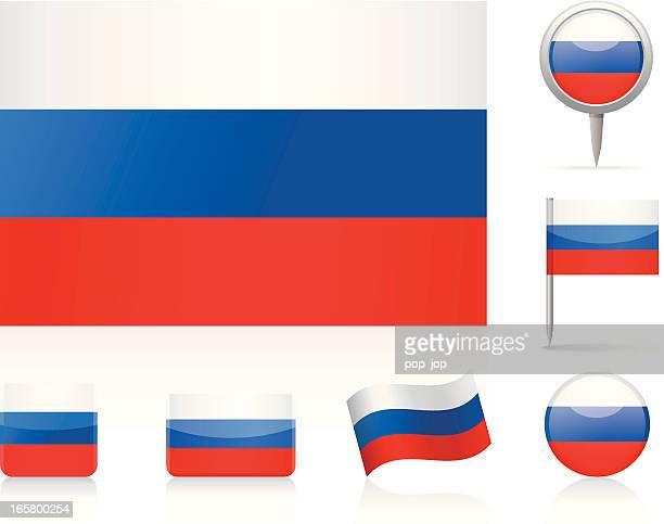 flaggen von russland-icon-set - russische flagge stock-grafiken, -clipart, -cartoons und -symbole