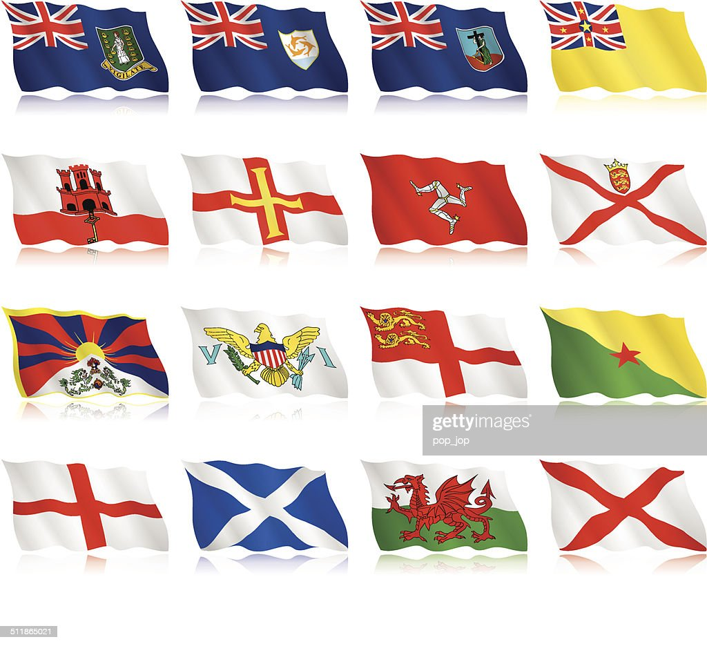 Flags of small countries and territories - waving form