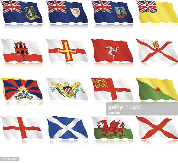 flags of small countries and territories - waving form - welsh flag stock illustrations