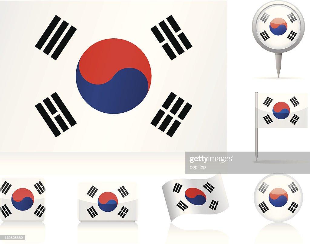 Flags of South Korea - icon set : stock illustration