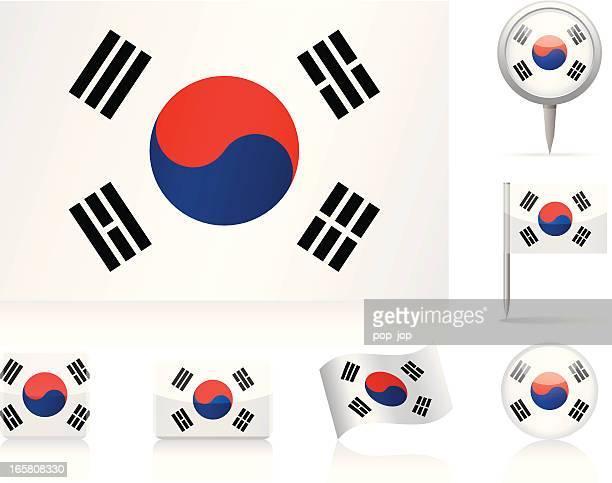 flags of south korea - icon set - south korea stock illustrations, clip art, cartoons, & icons