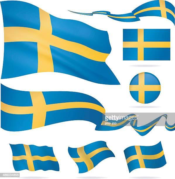 Flags of Sweden - icon set - Illustration
