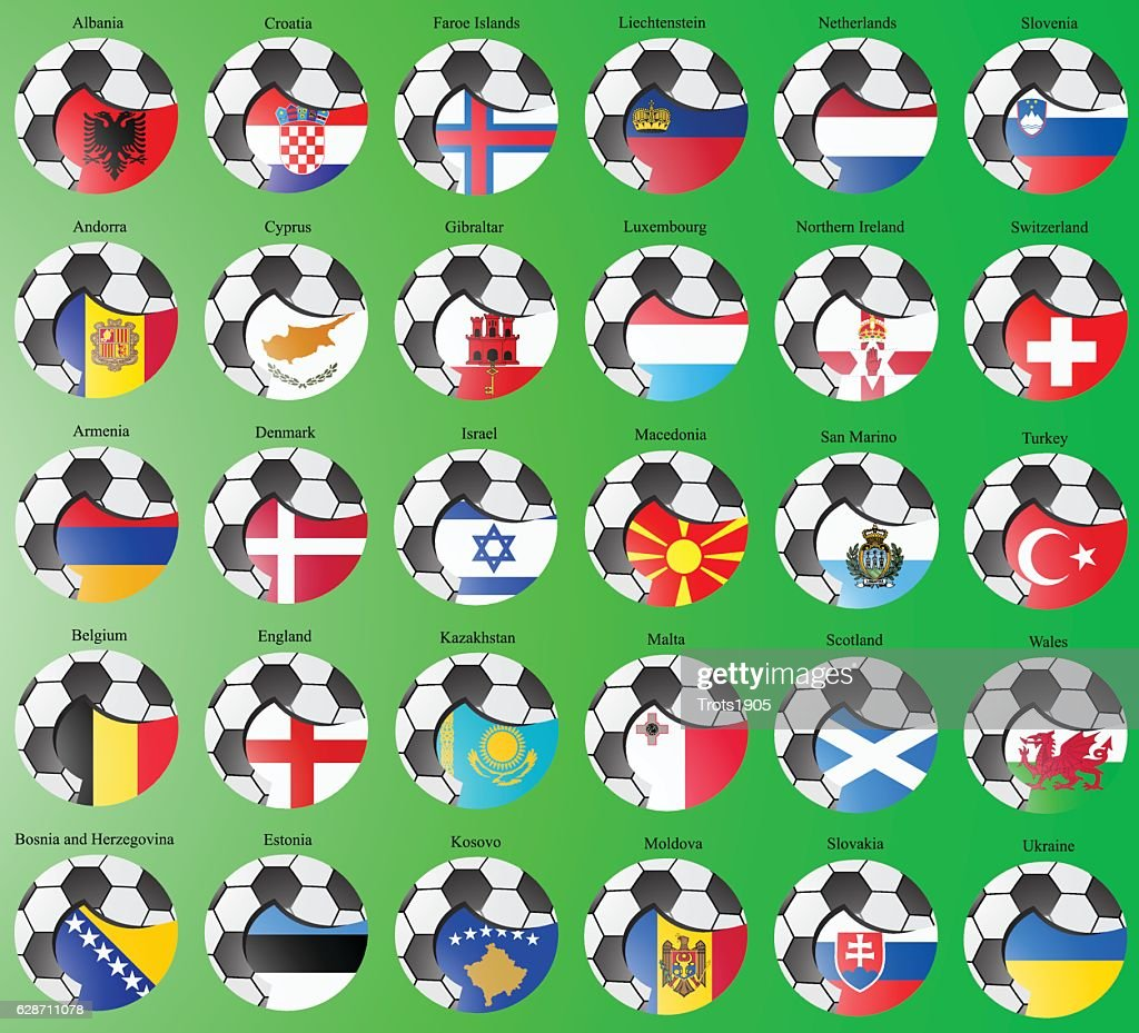 Flags of the Europe with soccer ball