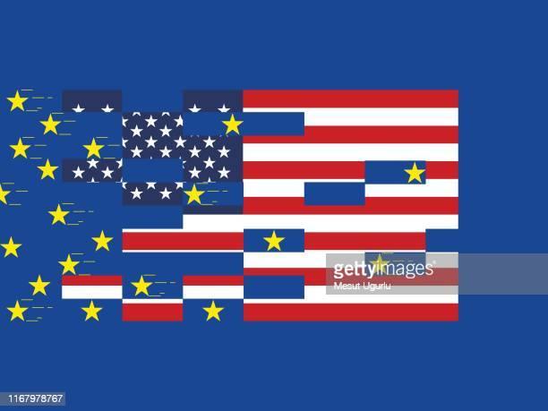 ilustrações, clipart, desenhos animados e ícones de bandeiras dos eua e da união européia. o conceito de relações entre estados, comunidade econômica, política. - usa